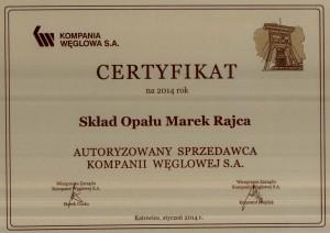 Skład Opału Marek Rajca - Certyfikat Autoryzowanego Sprzedawcy KWSA